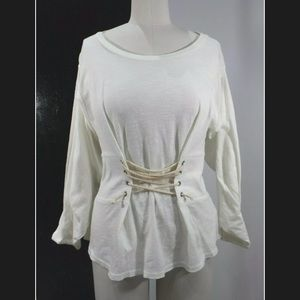 Anthropologie Eri + Ali blouse long sleeve corset